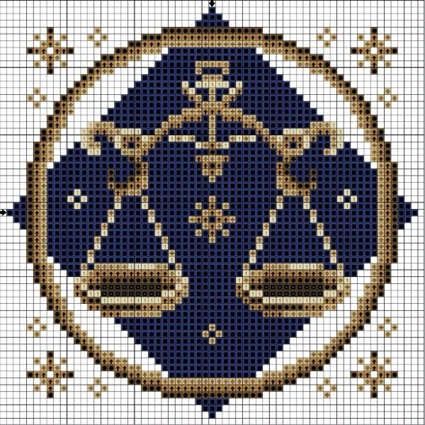 Схема вышивки крестом Весы знак Зодиака