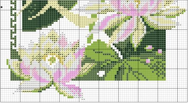 Схема для вышивки крестом лотоса