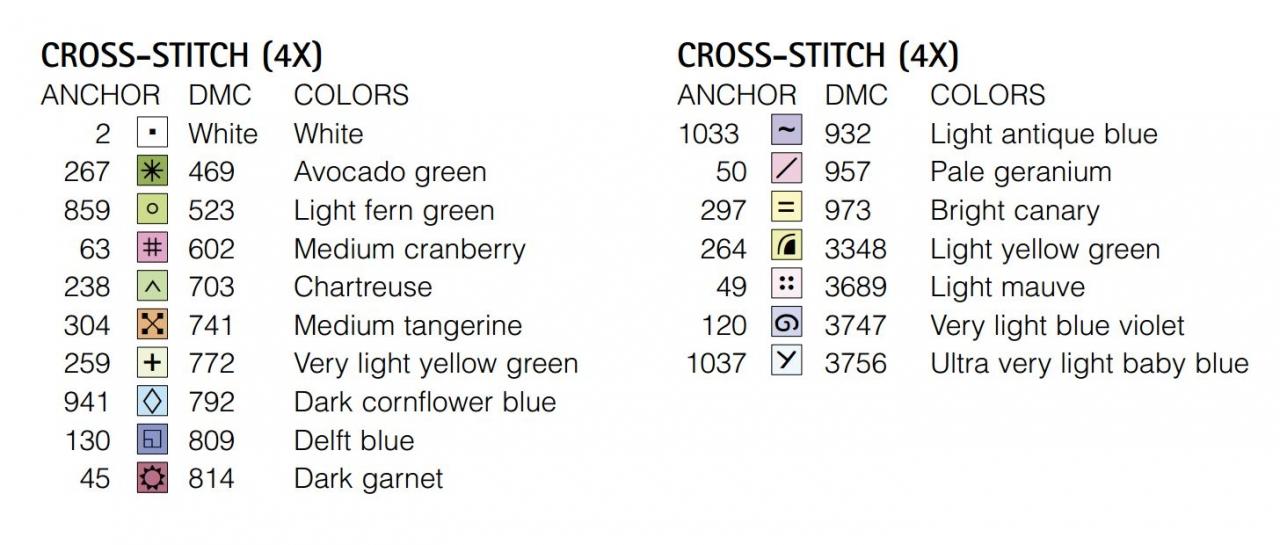 Ключ к схеме вышивки крестом