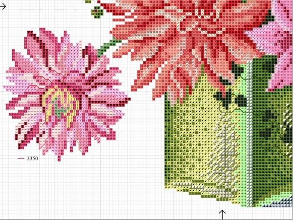 Схема для вышивки крестом георгинов