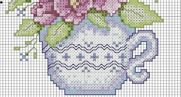 Схема для вышивки крестом шиповника