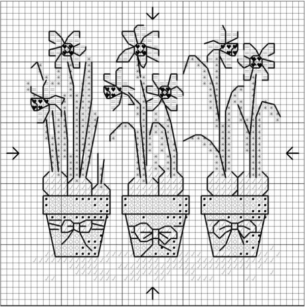 Схема вышивки крестом нарциссов в горшках
