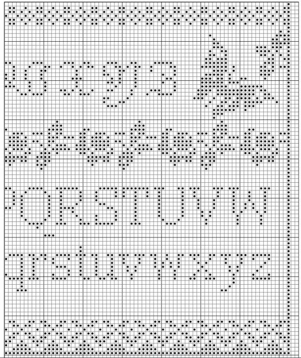 Схема для вышивки алфавит розы и птицы