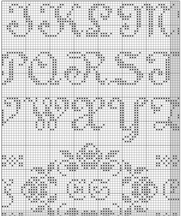 Схема для вышивки алфавита с птицами и розами