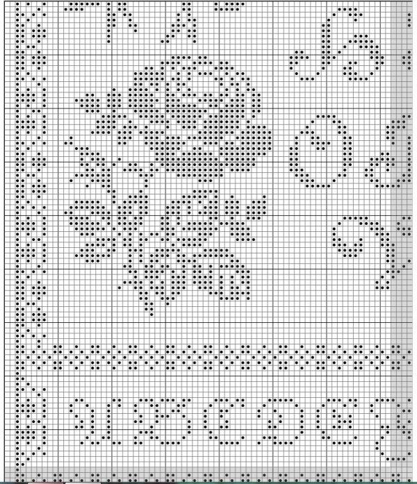 Схема для вышивки алфавита с розами и птицами