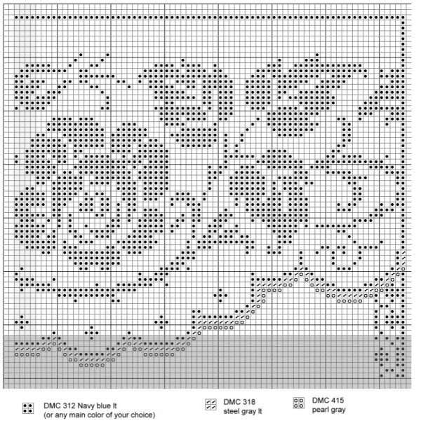 Схема вышивки алфавита сад с розами