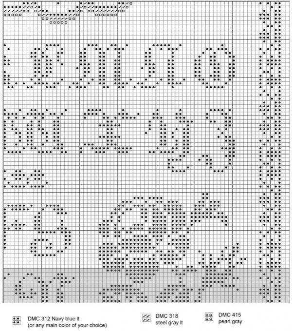 Схема вышивки крестом алфавита с розами и птицами