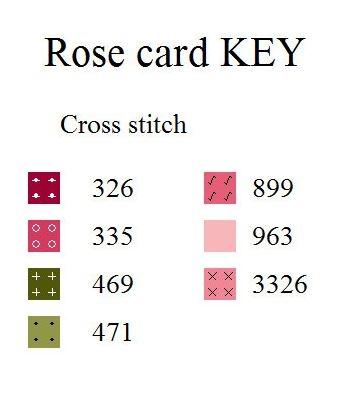 Ключ к схеме вышивки крестом розы розовой