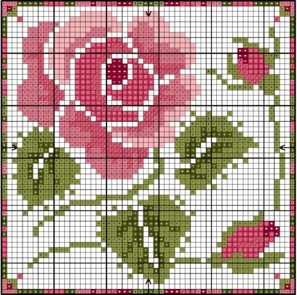 Схема вышивки крестом розы розовой с бутонами