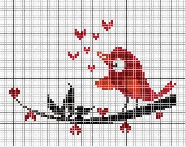 Схема вышивки крестом птицы на ветке
