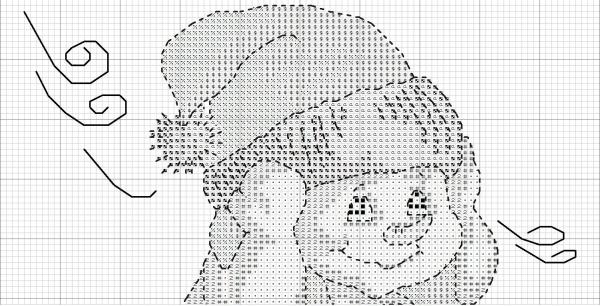 Схема вышивки крестом снеговика