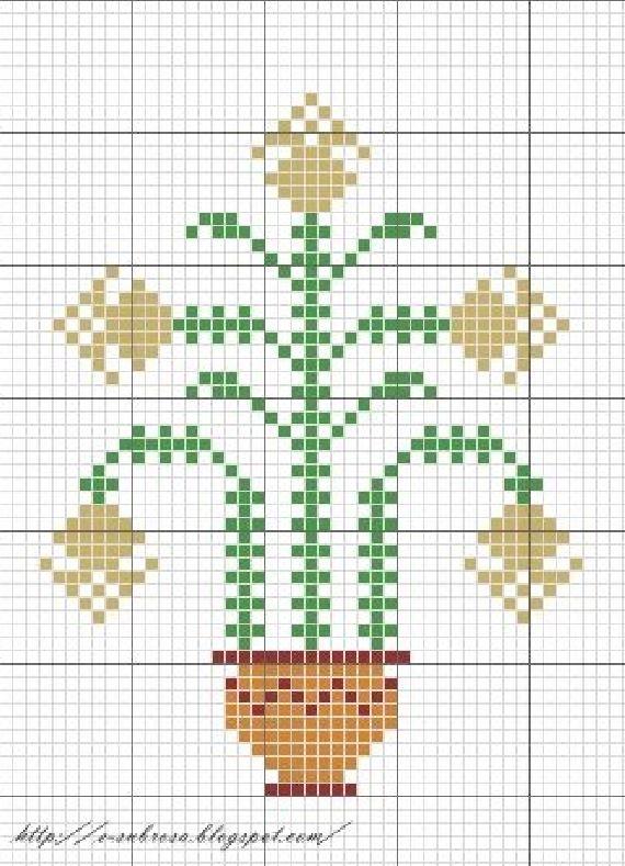 Схема для вышивки крестом цветов примитив