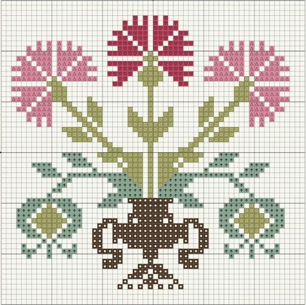 Схема вышивки крестом букета в вазе