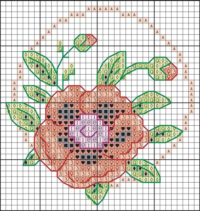 Схема вышивки крестом мака для