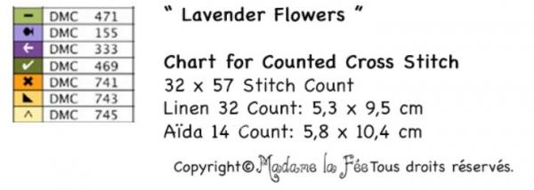 Ключ к схеме вышивки букета лаванды