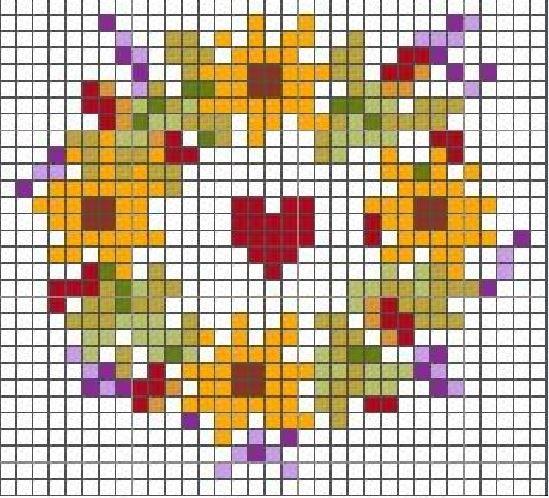Схема вышивки крестом подсолнухов
