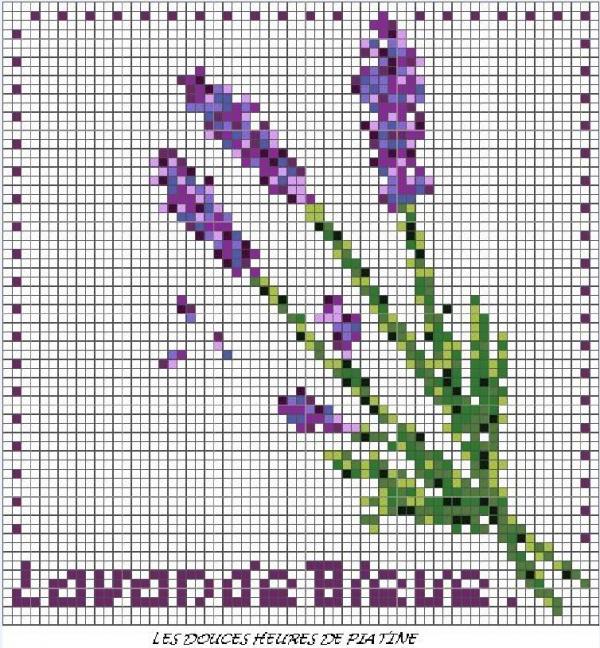 Схема вышивки крестом ветки лаванды