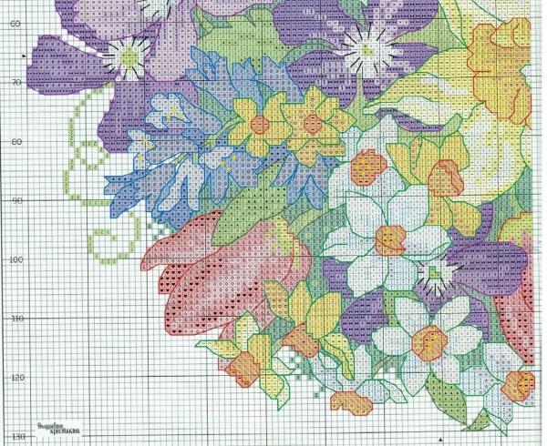 Схема для вышивки крестом подушки с цветами