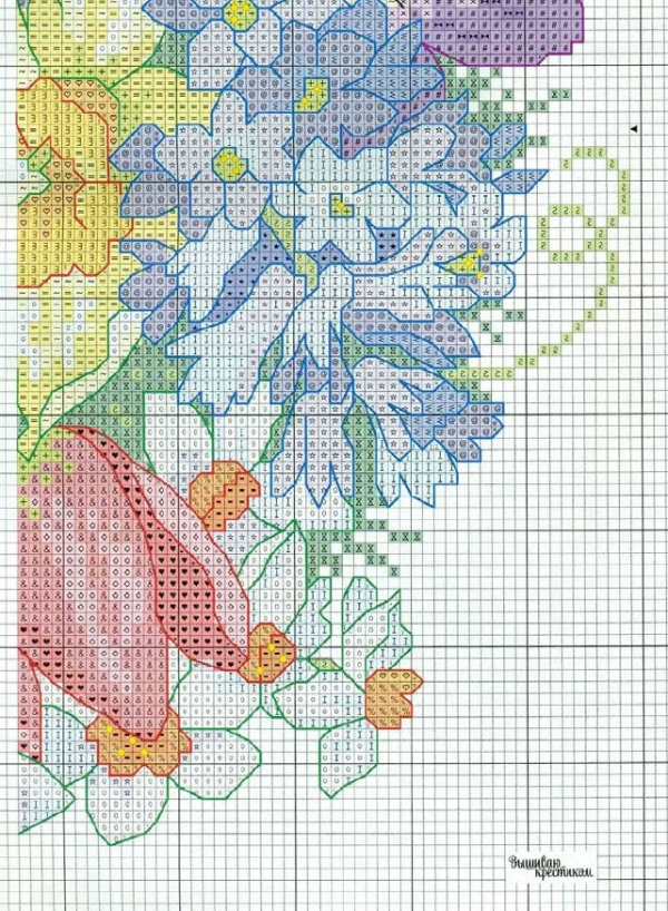 Схема для вышивки подушки с цветами