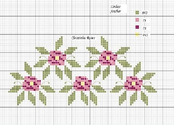 Схема вышивки крестом букета роз