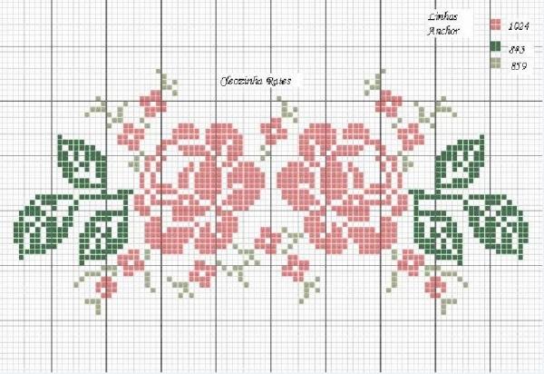 Схема вышивки крестом двух роз