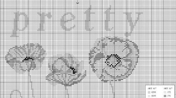 Схема вышивки крестом нежных маков