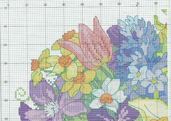 Схема вышивки крестом подушки с цветами