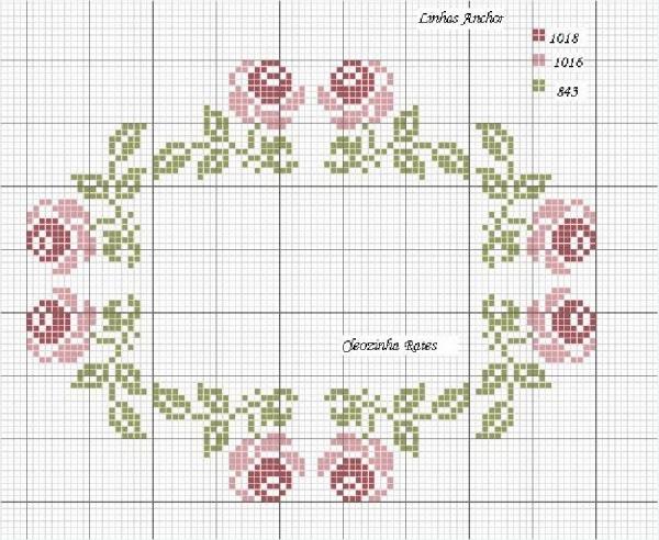 Схема вышивки крестом розового венка