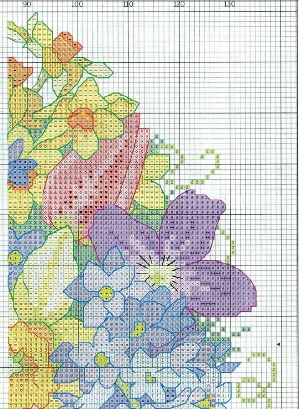 Схема вышивки подушки с цветами