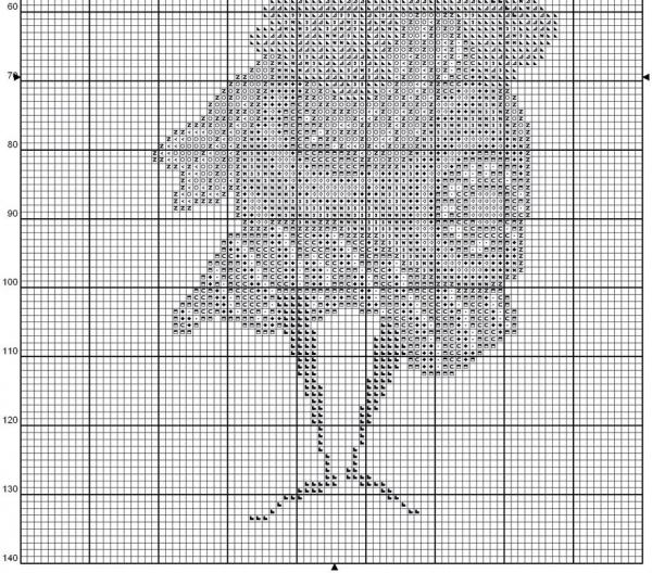 Схема для вышивки африканки с веткой