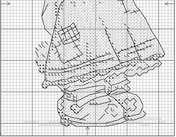 Схема для вышивки крестом зайки в платье
