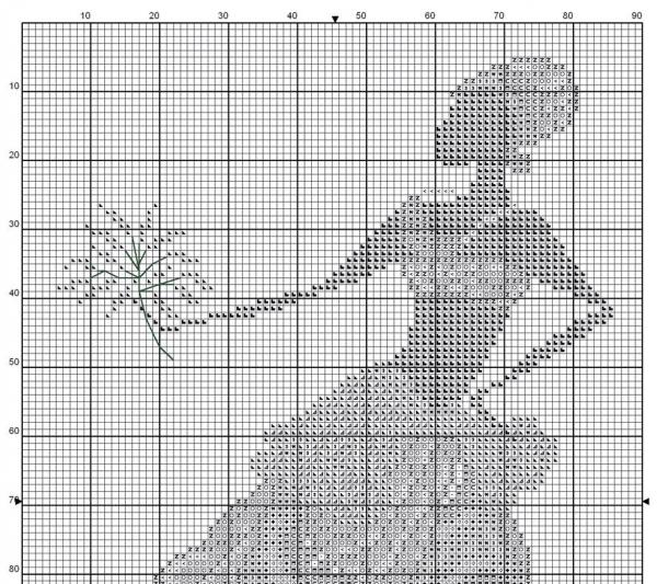 Схема вышивки крестом африканки с веткой