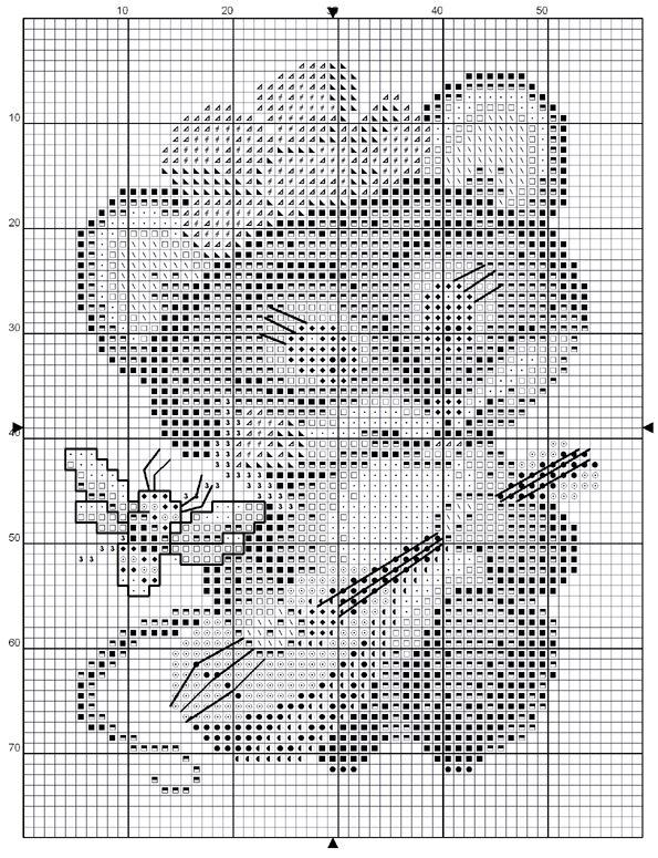 Схема вышивки крестом мышонка с балалайкой