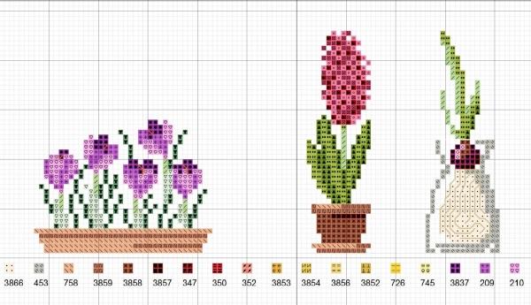 Схема вышивки крестом весенних цветов
