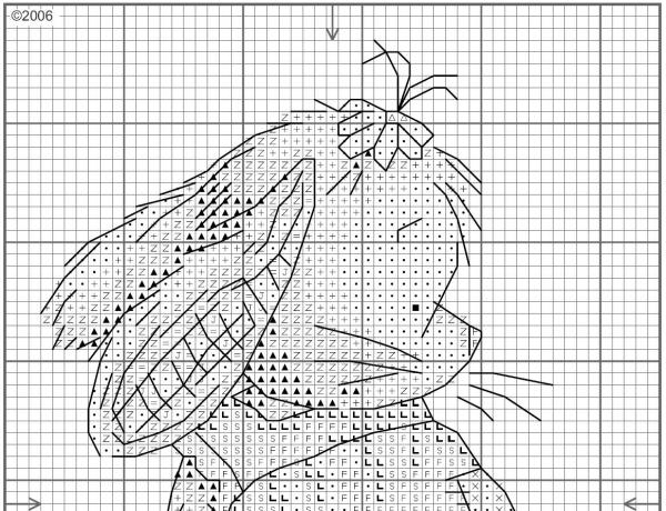 Схема вышивки крестом зайки в платье