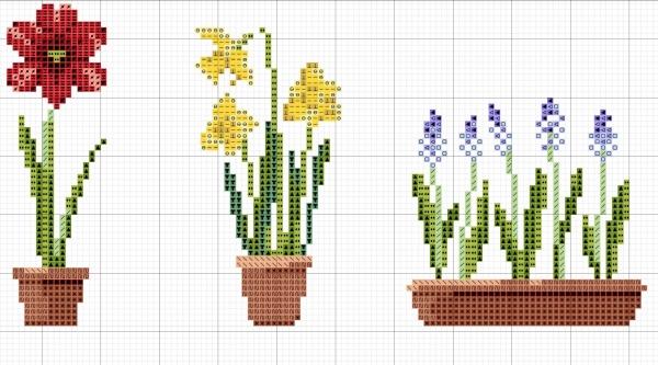 Схема вышивки весенних цветов