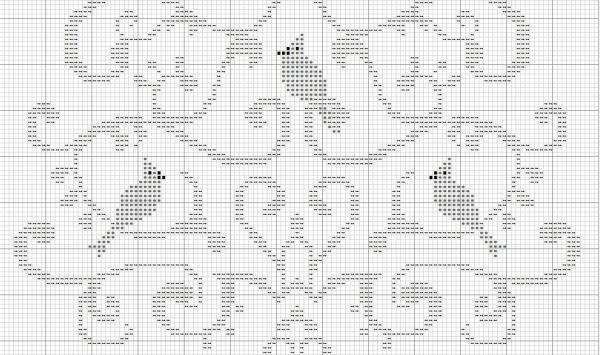 Схема для вышивки крестом дерева птиц