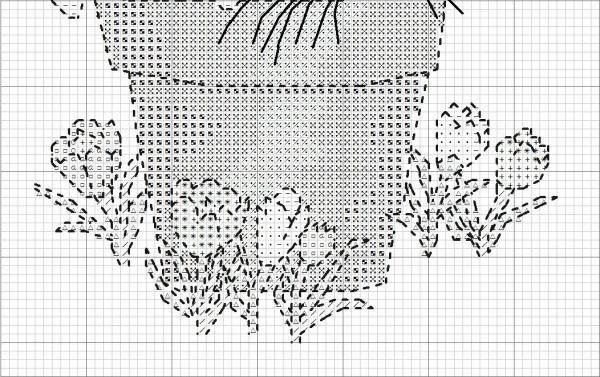 Схема для вышивки крестом зайца в горшке
