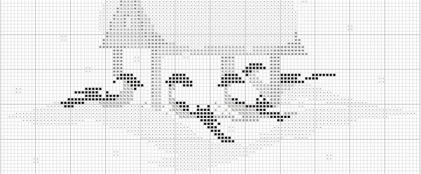 Схема для вышивки птицы у кормушки