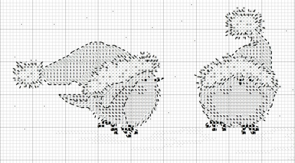 Схема вышивки крестом птиц в шапках