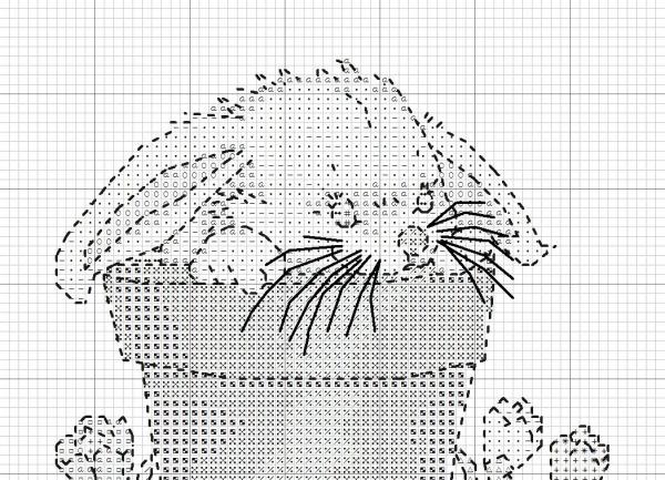 Схема вышивки крестом зайца в горшке