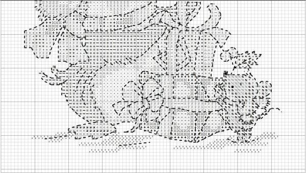Схема для вышивки утки и мыши с подарками