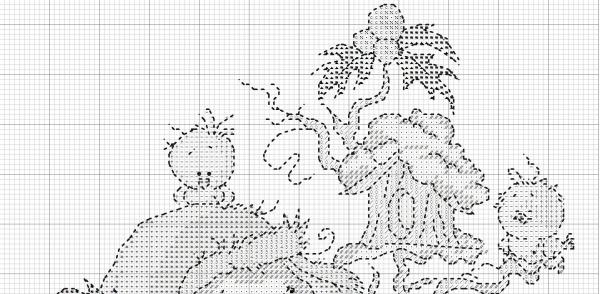 Схема вышивки крестом зимнего сюжета