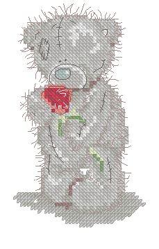 Тедди с красной розой