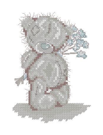 Мишка Тедди с букетом незабудок