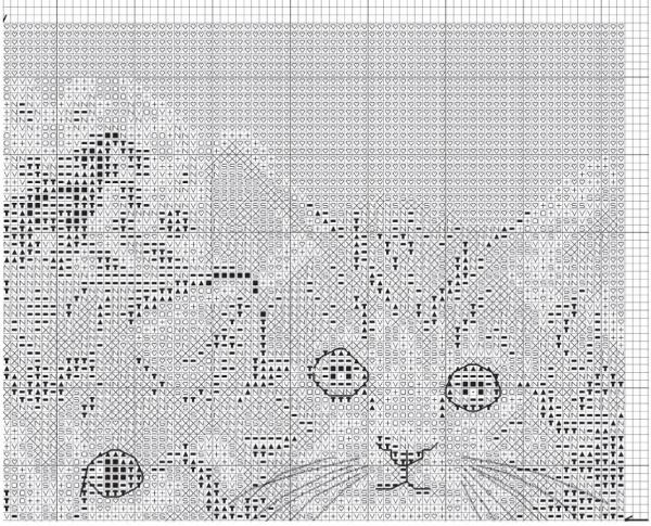 Схема для вышивки крестом котят в сепиа