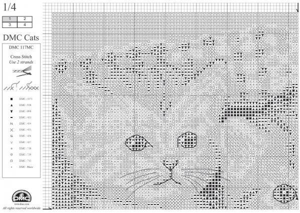 Схема вышивки крестом котят в сепиа