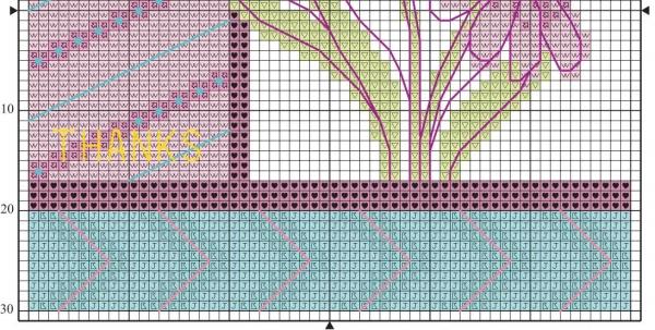 Схема для вышивки крестом две ромашки розовых