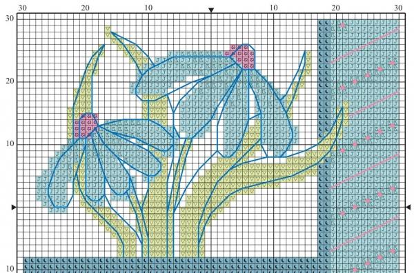Схема вышивки крестом две ромашки голубых