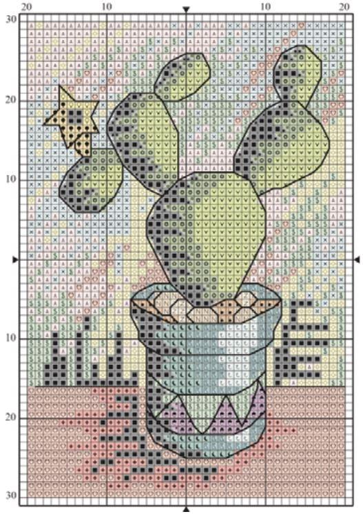 Схема вышивки крестом кактуса